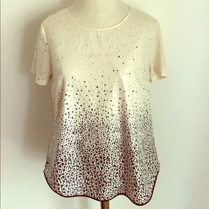 Clear sequin splatter ombré short sleeve top
